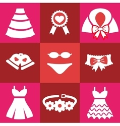 Set red wedding icons vector