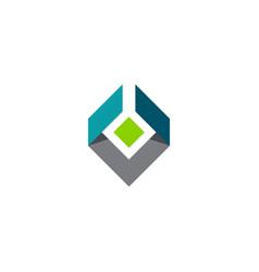 shape 3d geometry cube logo vector image