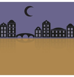 Simple black houses reflecting in the night eps10 vector
