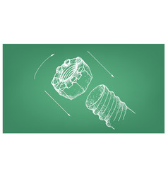 Sketch of slotted nut and screw on blueprint vector