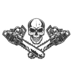 Skull and two crossed chainsaws vector