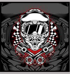 Skull helmet motor cross hand drawing vector