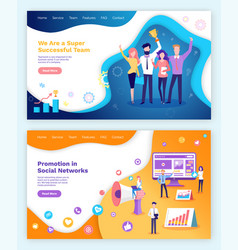 successful team promotion in social networks set vector image