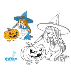sweet girl in witch costume sitting on floor vector image