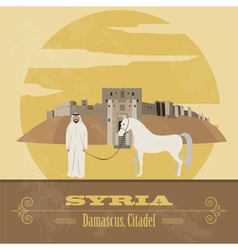Syria landmarks Retro styled image vector