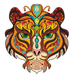 Tangle azian tiger colorful isolated vector