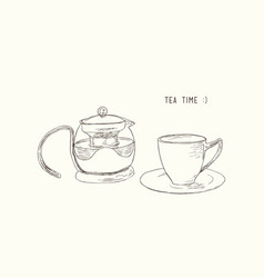 Tea set kettle and cup sketch vector
