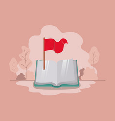 text book with flag isolate icon vector image