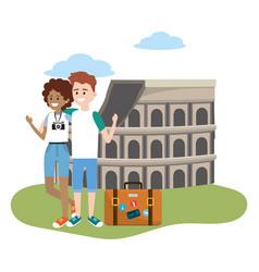 tourist couple cartoons vector image