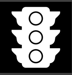 Traffic light the white color icon vector