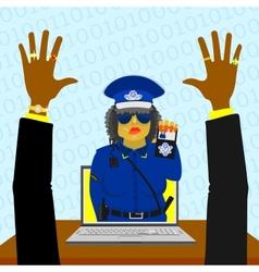 Virtual woman police vector image