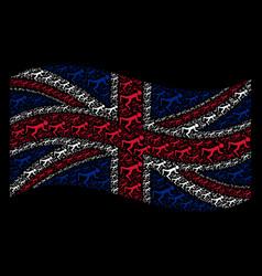 Waving great britain flag mosaic of snorkeling vector