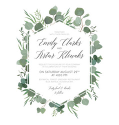 Wedding floral invitation save date card vector