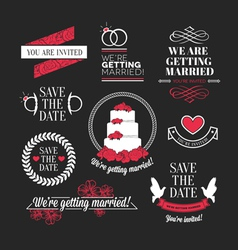 Wedding stamps mini set vector image
