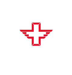 Wing cross health icon vector