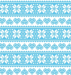 Winter Christmas seamless pixelated blue pattern vector image