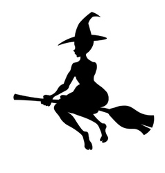 Witch on a broom black silhouette vector image