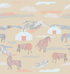 With horses vector
