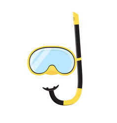 yellow diving snorkel mask tube vector image