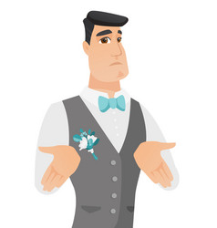 young caucasian confused groom shrugging shoulders vector image