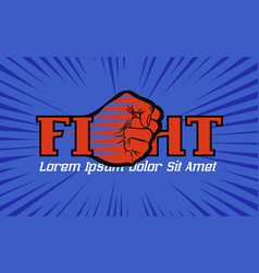 fight championship logo with hand fist vector image