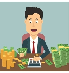 flat of businessman with pile vector image vector image