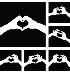hands heart set vector image vector image