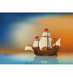 Sailing Ship at Sea vector image vector image