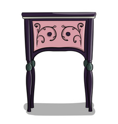a wooden bedside table with dark blue and purple vector image