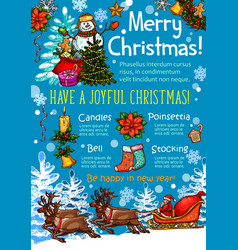 Christmas celebration poster of new year holidays vector