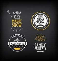 Circus and carnival vintage design label elements vector image
