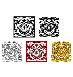 Dogs ornamental pattern in celtic style vector image vector image
