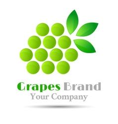 Grapes logo winemaking mark bunch grapes green vector image