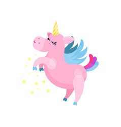 cute cartoon pink magic unicorn pegasus vector image vector image