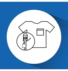 Drawing girl shopping with clothes vector
