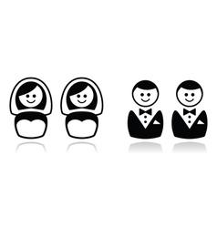 Gay and lesbian wedding icons set vector image vector image