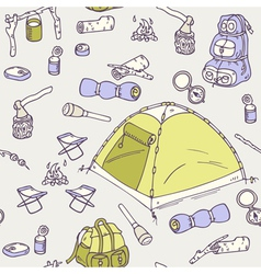 Hand drawn camping seamless pattern vector
