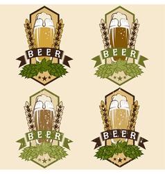 set of vintage beer labels vector image vector image