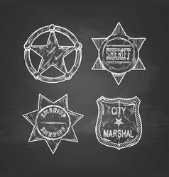 sheriff stars on blackboard vector image vector image