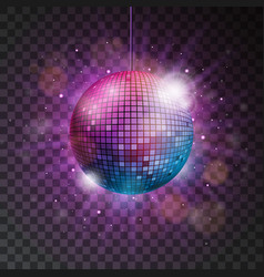 shiny disco ball on a transparent background vector image vector image