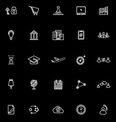 Business connection line icons on black background vector image vector image