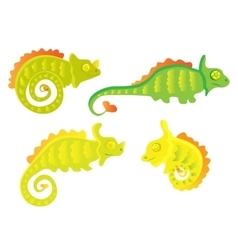 Cartoon Chameleon set vector image vector image