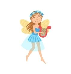Cute Fairy With Lira Girly Cartoon Character vector image vector image