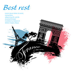 france travel grunge style vector image vector image