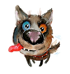 Hand drawn watercolor happy funny dog vector image vector image