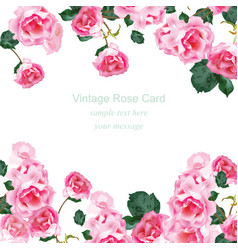 invitation card with watercolor vintage roses vector image