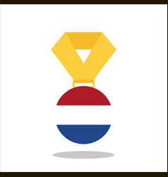 medal with the netherlands flag isolated on white vector image