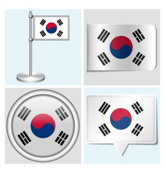 South Korea flag - sticker button label vector image vector image