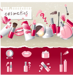stylized cosmetics icons vector image vector image