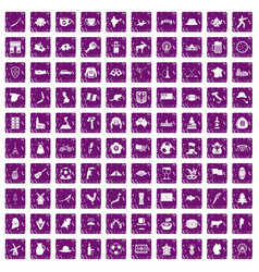 100 map icons set grunge purple vector image